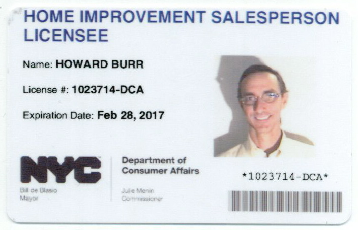 NYC DCA HIC Salesman license 2017